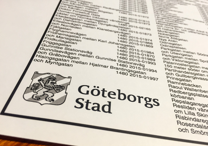 Ändring av bärighetsklasser i Göteborg